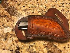 Custom LG RH Cross-Draw Leather Sheath for Buck 110/112Others Lt Brown *NO KNIFE