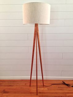 Floor Lamp  Tripod  Cherry Wood by WaldenWoodDesigns on Etsy