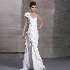 Elegant  Aestheticism Mermaid One Shoulder Empire Flower White Evening Dress