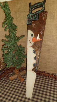 Primitive Hand Painted Snowman VIntage Hand Saw by AGEDCRACKLEPRIM