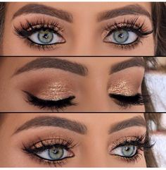 Eye Makeup Tips.Smokey Eye Makeup Tips - For a Catchy and Impressive Look Kiss Makeup, Cute Makeup, Prom Makeup, Pretty Makeup, Wedding Makeup, Hair Makeup, Gold Eye Makeup, Gold Eyeshadow, Makeup For Blue Eyes