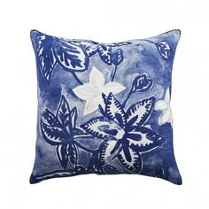 Bonnie and Neil Holiday Floral Blue Cushion 50cm | Bonnie and Neil – Salt Living or online at www.saltliving.com.au #saltliving #bonnieandneil #screenprinting #linen #cushion