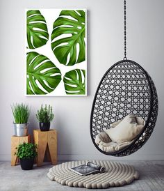 Tropical Home Decor, Tropical Leaves Art, Tropical Leaf Print, Monstera Leaf Printable Art by Little Ink Empire Etsy