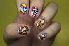 Pop Art by leximartone from Nail Art Gallery Comic Book Nails, Comic Nail Art, Book Nail Art, Comic Art, Ongles Pop Art, Pop Art Nails, Heroes Disney, Bd Pop Art, Galeries D'art D'ongles