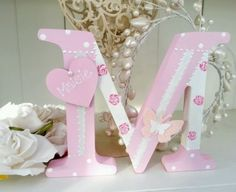 Shabby personalised girls handpainted roses wooden letter/name sign freestanding in Home, Furniture & DIY, Home Decor, Plaques & Signs | eBay