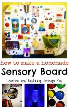 Sensory Board Fun for Children DIY Sensory Board. Activities for Children. Learning and Exploring Through Play. Activities for Children. Learning and Exploring Through Play. Diy Sensory Board, Sensory Wall, Sensory Rooms, Autism Sensory, Baby Sensory, Sensory Activities, Infant Activities, Activities For Kids, Sensory Bins
