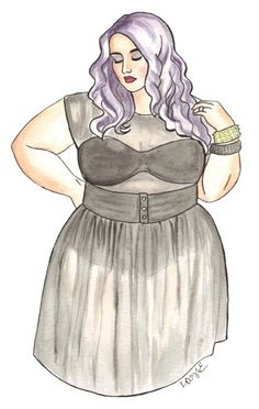 plus size fashion sketches | Illustration of beautiful plus size inspiration Courtney from the ...