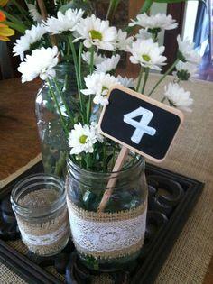 Chalkboard Wedding Centerpiece table numbers - set of 12. $24.00, via Etsy.