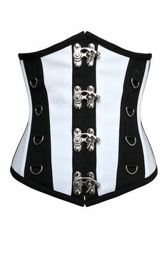 Black and White Steel Boned Underbust Corset