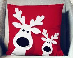 Cranberry Red Poinsettia Flower on Burlap Pillow Accent Pillow Burlap Christmas Pillow Christmas Sewing, Christmas Deer, Felt Christmas, Etsy Christmas, Burlap Christmas, Christmas Christmas, How To Make Pillows, Diy Pillows, Throw Pillows