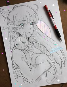 Edit: added decoration A very quick sketch of Minako, Sailor Venus, and Artemis ♡ to go together with my Usagi I wanted to draw Hotaru but not sur. +Minako and Artemis+ Anime Drawings Sketches, Pencil Art Drawings, Anime Sketch, Manga Drawing, Manga Art, Cute Drawings, Animal Drawings, Anime Art, Sketch Drawing