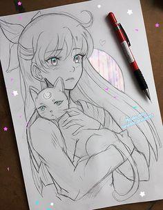 (Sailor Moon) Mina Aino and Artemis