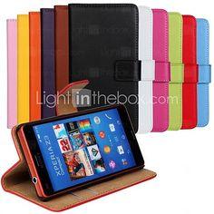 ensfarget ekte lær full body sak med stativ og kortspor for Sony Xperia z3 kompakte / z3 mini (assorterte farger) - NOK kr88