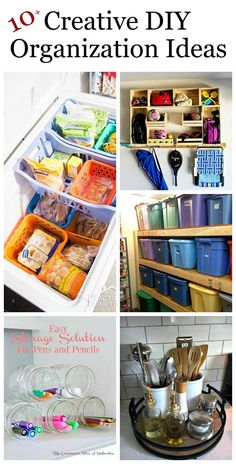 Lots of clever and creative DIY organization ideas for home. Declutttering doesn't have to be expensive or confusing when you do it yourself. #decluttering #diyorganization #organizationideas #organizationtips #organizationhacks  via @HouseHawthornes