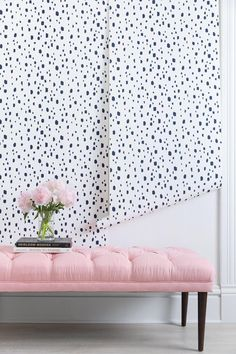 All the Feminine Home Decor Inspo You'll Need for a Ladylike Home - pink tufted bench + spotted wallpaper