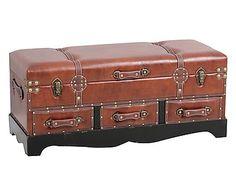 panchetta contenitore : Panchetta contenitore in pu e mdf laccato alisha marrone, 102x46x42 cm