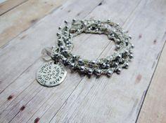 Silver Crochet Bracelet beaded wrap bracelet necklace Inspiration Charm Bracelet Wrap Yoga Bracelet, Beach Jewelry, Surfer anklet Bohemian