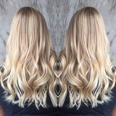 Hair by @beautimoe - bright blonde balayage