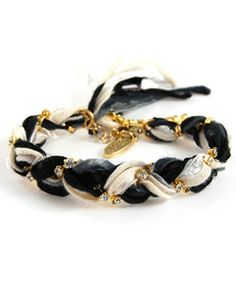 Ettika Black and White Braided Bracelet