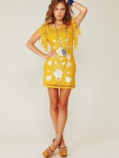 { Mexican Embroidered Shift Dress, from Free People [$168] }