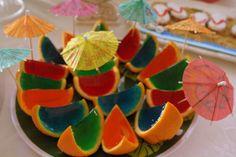 luau parti, pool parties, jello shots, luau birthday, birthday parties, food, oranges, parti idea, jello shooters