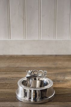 posh dog bowl with woof words