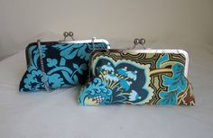 THE PEACOCK DAMASK bridesmaid clutches  by franklymydearvintage