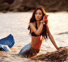 We've got a mermaid falling in love with a land bound boy in this cute editorial for Vogue Girl Korea's July 2010 issue. Photographed by Tae Woo with model Continuity (? Mermaid Photo Shoot, Mermaid Pose, Mermaid Pictures, Mermaid Tails, Mermaid Art, Mermaid Lagoon, Mermaid Kisses, Mermaids Exist, Real Mermaids