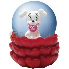 45mm Betty Boop's Pudgy Valentine Figure in Water Globe with Hearts