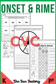 Onset and Rime Worksheets Activities Centers Phonics Worksheets, Phonics Activities, Teacher Blogs, Teacher Resources, Teaching Ideas, Reading Resources, Reading Activities, The Fun Factory, First Grade Classroom