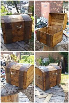 This piece of work was made by a resident from Pentrebane, Cardiff. This resident suffers from depression and anxiety. He started making wood products from recycled pallets such as this treasure chest and found that this helped him to feel better about himself, and now he comes and helps make... #PalletChest, #ReclaimedPallet