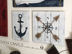 Nautical decor 2 pc set Anchor art Nautical anchor decor