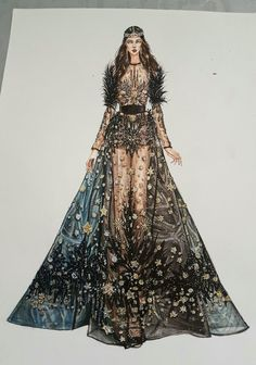 Elie saab Hautecouture fall-winter By IG : Fashion Design Sketchbook, Fashion Design Drawings, Fashion Sketches, Fashion Drawing Dresses, Fashion Illustration Dresses, Fashion Art, Fashion Models, Costume Design Sketch, Illustration Mode