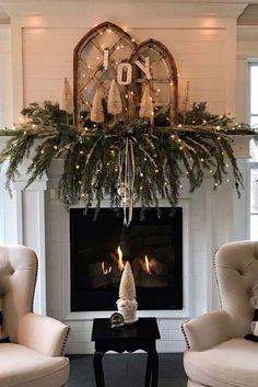Christmas Mantels, Rustic Christmas, Christmas Home, Christmas Lights, Christmas Wreaths, Christmas Crafts, Christmas Ideas, Fireplace Mantel Christmas Decorations, White Christmas