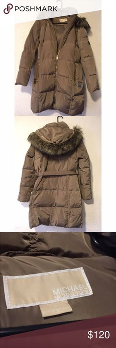 Michael Kors Winter coat with down feather Tan with fur hood with gold accents and belt like new Wore once size M KORS Michael Kors Jackets & Coats Puffers