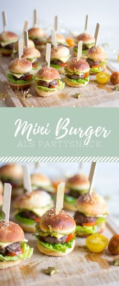Mini-Burger The post Der perfekte Party Snack! Mini-Burger appeared first on Essen Rezepte. Party Finger Foods, Snacks Für Party, Finger Food Appetizers, Birthday Party Snacks, Appetizers For Party, Appetizer Recipes, Snack Recipes, Tapas Party, Fingerfood Party