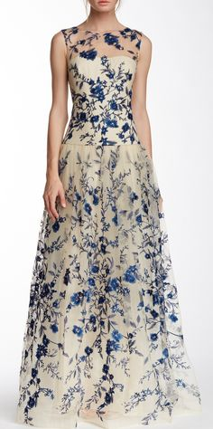 Illusion Neck Floral Embroidered Gown jaglady