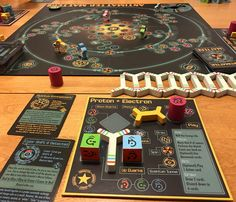 The quantum physics board game Antimatter Matters. Surprisingly fun once you figure out the somewhat ambiguous rules!