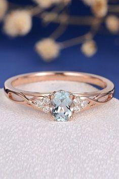 Aquamarine Engagement Rings For Romantic Girls ❤ aquamarine engagement rings rose gold oval cut twist ❤ More on the blog: #vintageengagementrings #weddingring #engagementring