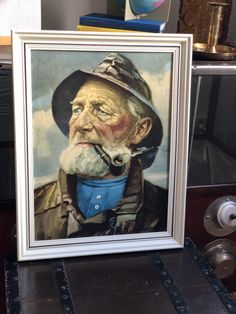 Excited to share this item from my shop: Iconic vintage Old Salty Fisherman with pipe framed printed on board excellent condition man with pipe Kitsch, Sailor, 1970s, Vibrant, Gallery Wall, Framed Prints, Etsy Shop, King, Printed