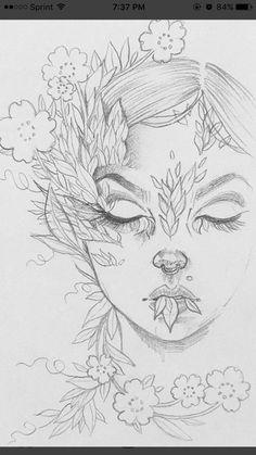New Art Sketches Girl Drawing Sketches, Art Drawings Sketches Simple, Cute Drawings, Girl Drawings, Drawing Faces, Sketch Art, Beautiful Drawings, Drawing Art, Drawing Tips