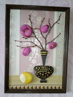 Купить натюрморт с лимоном - фантазия, творчество, вазочка, цветы, лимон, морская галька Stone Crafts, Rock Crafts, Diy And Crafts, Rock Sculpture, Sculpture Painting, Jobs In Art, Angel Art, Pebble Art, Stone Art