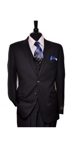 Tiglio Lux Men's Suit Black Mini Diamond - MADE IN ITALY