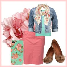 """Lil' Floral"" on Polyvore - I used to have a pink skirt like that, need to get skinny so I can wear it again!"