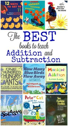 huge list includes all the best books to teach addition and subtraction, as well as free resources to go along with them!This huge list includes all the best books to teach addition and subtraction, as well as free resources to go along with them! 1st Grade Math, Kindergarten Math, Teaching Math, Second Grade, Best Kindergarten Books, Grade 1, Teaching Ideas, Subtraction Kindergarten, Teaching Money