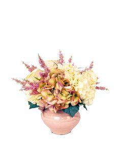 Creative Displays Astilbe & Cream Hydrangea In Ceramic Vase, Pink at MYHABIT