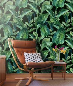 Tropical Leaves Wall mural -Self Adhesive Fabric Wallpaper, Removable, Repositionable, Reusable. EASY PEEL & STICK !!R0006