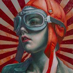 Like the Wind. Brand new piece. Oil on linen. #kathrinlonghurst #painting #oilonlinen #oilpainting #pilotgirl #flying #rebel #helmet #nandahobbs #art #konst #kunst #arte #peinture #artwork #stripes #retro #artist #jetgirl #pilot #fighter #toughwomen