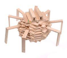 Kapla : De spin die in het web woont Popsicle Stick Crafts, Craft Stick Crafts, Preschool Crafts, Alex Craft, Wooden Building Blocks, Block Area, Up Book, Class Decoration, Fall Diy
