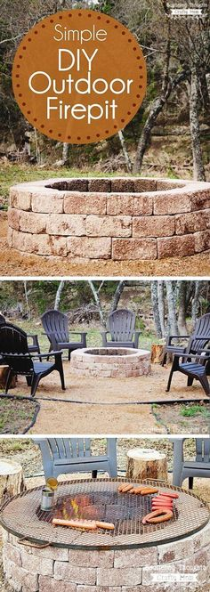 Simple DIY Round Stone Firepit. One of the simplest ways is to make a fire pit is using bricks. You can place them to make whatever shape you like, and then fill up the inside with stones. Don't forget to place a barbeque grill on top, and of course, make sure your grill is big enough to not fall inside.